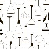 Lamps Sign Set For Interior Pattern. Electricity Floor Lamp And Table Lamps Concept. Home Decoration poster