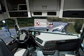 Self Driving Truck On A Road. Vehicle To Vehicle Communication. Data Exchange Between Autonomous Car poster