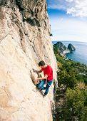 A Rock Climber On A Rock. poster