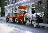 foto of clydesdale  - Old Beer Delivery Wagon in Edinburgh Scotland - JPG