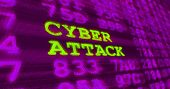 Cyber Attack And Computer Security Warnings - Cyber Attack - Green Words And Numbers On Ultraviolet  poster