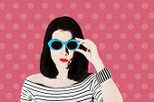Photo In The Style Of Pop Art. Woman In A Black And White Striped Top And Blue Sunglasses, Pin Up St poster