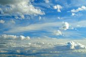 Sky Landscape Of Cloudy Sky. Blue Sky Background With White Dramatic Clouds, Sky Landscape In Cloudy poster