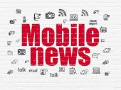 News Concept: Painted Red Text Mobile News On White Brick Wall Background With  Hand Drawn News Icon poster