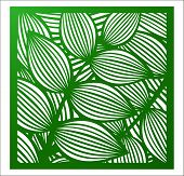 Laser Cutting Square Panel. Openwork Floral Pattern With Tropical Leaves. Perfect For Silhouette Orn poster