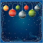Blue Christmas Card With  Ball, Vector
