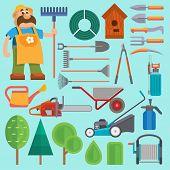 Garden Equipment And Gardener Vector Farmer Flat Set Character With Beard And Rake Illustration. Set poster