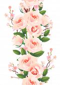 Vertical seamless pattern with pink roses