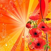 Summer background with red poppies