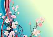 Floral greeting card with blossoming tree