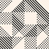 Vector Geometric Lines Pattern. Abstract Graphic Ornament With Stripes And Squares. Monochrome Urban poster