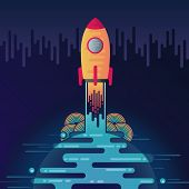 Vector Illustration Of Sci-fi Planet In Space And Take Off Rocket. Abstract Starting Rocket On Digit poster