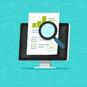 Audit Research On Computer Vector Illustration, Flat Cartoon Paper Financial Report Data Analysis On poster