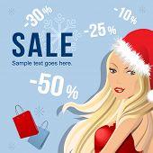Banner de venda de Natal com mulher bonita
