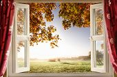 Open Window With Fresh Air And Countryside Scenery Views. Red Curtains Opened Show A Modern Window I poster