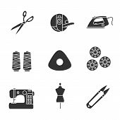 Tailoring Glyph Icons Set. Fabric Scissors, Bobbin Case, Steam Iron, Thread Spool, Chalk, Sewing Mac poster