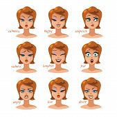 Woman Character Expressions Emotions Set. Calmness, Happy, Suspicion, Fear, Angry, Laughter, Sadness poster