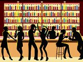 stock photo of bachelor party  - vector illustration of people silhouettes in bar - JPG