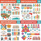 Infographic Business Design Elements - Vector Illustration. Infograph Template Collection. World And poster