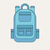 School Backpack In A Flat Style. Kids Backpack On A White Background. Child Backpack Vector Illustra poster