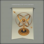 Banner International Planetarium Day With Astrolabe. Vector Illustration poster
