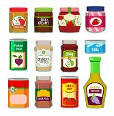 Jars With Canned Fruits And Others Different Goods. Vector Pictures In Flat Style. Food Canned And J poster