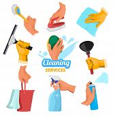 Womens Hands With Different Tools For Cleaning. Tools Clean In Hand, Cleaner And Brush, Sponge Washi poster