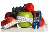 Blood Sugar Control With Healthy Organic Food And Dumbbells With poster