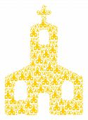 Christian Church Illustration Organized In The Figure Of Christian Church Elements. Vector Iconized  poster