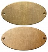 old copper and brass oval metal plates with clipping path 3d illustration poster