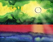 Fantasy Watercolor Seascape With The Sun, Sunbeams, Skyline And Wave. Magic Sunset. Indian Ink Drawi poster
