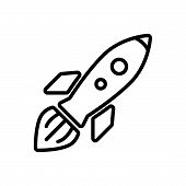 Launched Space Shuttle, Outlined Symbol Of Flying Space Craft, Rocket Image Jpg, Rocket Vector Eps,  poster
