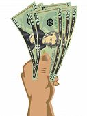 Hand holding dollar bills vector