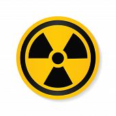 Ionizing Radiation Logo Warning Attention Icon. Hazard Radioactive Poison Symbol. Alert Flat Vector  poster