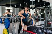 Bench Press Weightlifting Woman With Personal Trainer In Fitness Club. Sport Healthy Fitness Lifesty poster