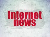 News Concept: Painted Red Text Internet News On Digital Data Paper Background With  Scheme Of Hand D poster