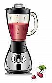 picture of kitchen appliance  - Drawing color kitchen blender with Cherry juice - JPG