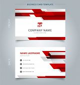 Creative Business Card And Name Card Template Technology Geometric Red Color Shiny Motion Background poster