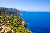 Island Scenery, Seascape Of Mallorca Spain. Idyllic Coastline Of Majorca, Mediterranean Sea On Sunny poster