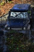 Crossover Overcomes Obstacles On Sunny Autumn Day In Forest. Powerful Car Concept. Suv Covered With  poster