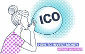 Ico Fraud Conceptual Design How To Invest Money Without Risks. Initial Coin Offering Concept White V poster