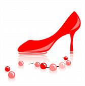 image of high-heels  - Red female shoe on a high heel and a beads on a white background - JPG