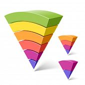 6, 4 and 2-layered pyramid shapes. Vector.