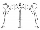 Cartoon Stick Man Drawing Conceptual Illustration Of Man Or Businessman Standing Stressed And Unsure poster