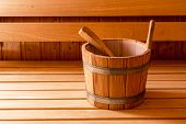 Finnish Wooden Sauna Bucket And Ladle poster