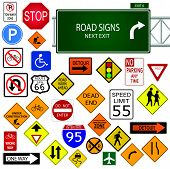 pic of traffic sign  - Image of various road signs isolated on a white background - JPG