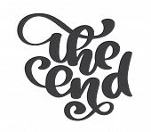 Hand Drawn The End Vector Text Lettering Phrase, Ornamental Movie Ending Typography Illustration Des poster
