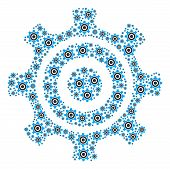 Cogwheel Composition Composed In The Figure Of Cogwheel Pictograms. Vector Iconized Collage Organize poster