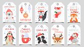 Cute Animals Christmas Tags. Holiday Gift Tag With Winter Owl, Deer And Bears. Happy Animal Celebrat poster