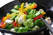 stir fried vegetables in a chinese wok